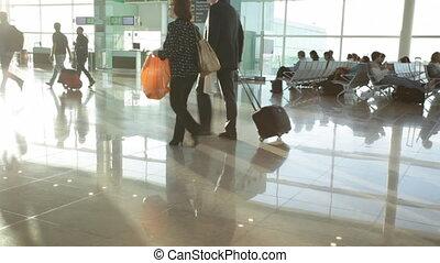 luchthaven, mensen, interieur, haast, moderne