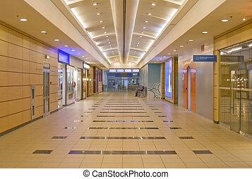 luchthaven., moderne, gang, interior.