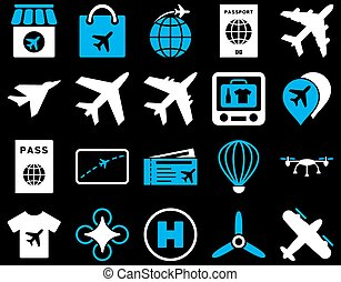 luchthaven, set, pictogram