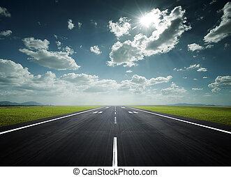 luchthaven, startbaan, op, een, zonnige dag