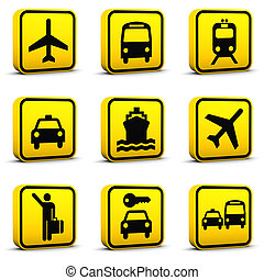 luchthaven, stijl, iconen, set, 01