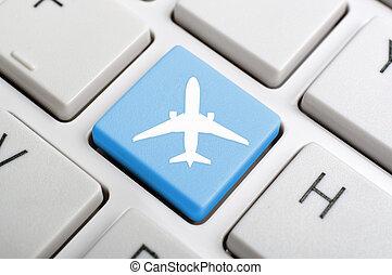 luchthaven, symbool, op, toetsenbord