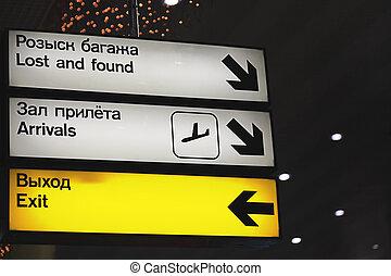 luchthaven., tekens & borden, informatie