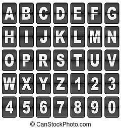luchthaven, tijd, /, scorebord, lettertype