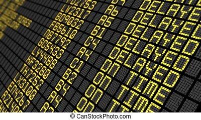luchthaven, tijd, uitgesteld, plank