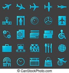 luchthaven, vector, set, iconen