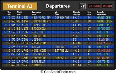 luchthaven, vertrek plank