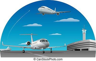 luchthaven, vliegtuigen