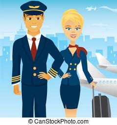 luchthaven, vlucht, team