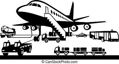 luchthaven, voertuigen, steun