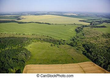luchtmening, boven, de, groene, velden