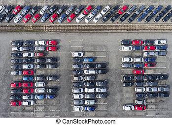 luchtmening, partij, van, voertuigen, op, parkeren, voor, nieuw, auto.