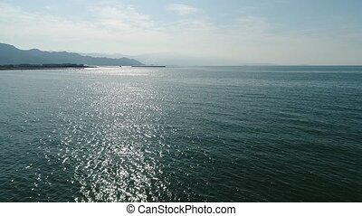luchtmening, terugtocht, in, van, kalm, blauwe , zee