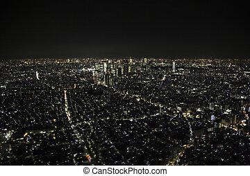 luchtmening, van, high-rise, gebouwen, in, de, shinjuku,...