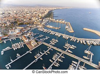 luchtmening, van, limassol, jachthaven, cyprus