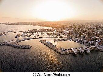 luchtmening, van, limassol, oude haven, cyprus