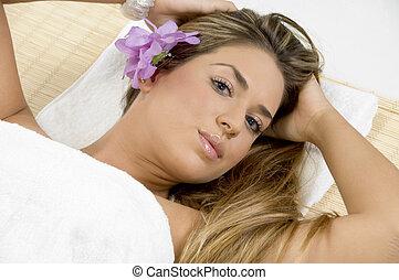 luchtmening, van, relaxen, blonde, model