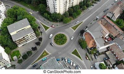luchtmening, van, rotonde, straat