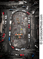 luchtmening, van, stad, werf, met, auto's