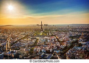 luchtopnames, bekende & bijzondere plaatsen, parijs, frankrijk, sunset., aanzicht