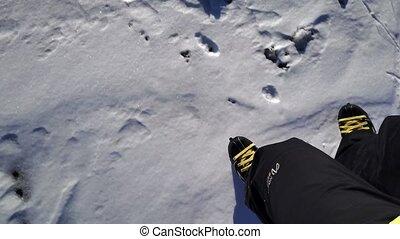 luchtopnames, bevroren, ijs, him., river., neuriën, skater, volgend, langs, verschuifbaar, aanzicht