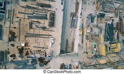 luchtopnames, bovenzijde, bouwterrein, dons, bouwsector, aanzicht