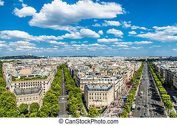 luchtopnames, champs, parijs frankrijk, elysees, cityscape, aanzicht
