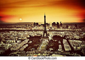luchtopnames, eiffel, parijs, frankrijk, toren, aanzicht, sunset.