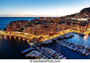 luchtopnames, haven, riviera, franse , jachtboten, luxe, monaco, fontvieille, aanzicht
