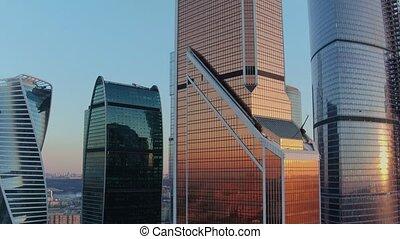 luchtopnames, kantoor, stadsmening, centrum, moderne,...