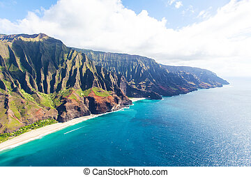 luchtopnames, kauai, aanzicht