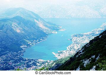 luchtopnames, kotor, kotorska), montenegro, bay(boka, aanzicht