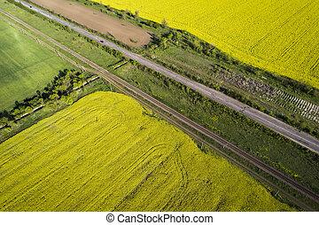 luchtopnames, road., velden, auto's, geel groen, gaan, overzicht.