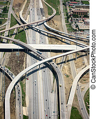 luchtopnames, snelweg, aanzicht