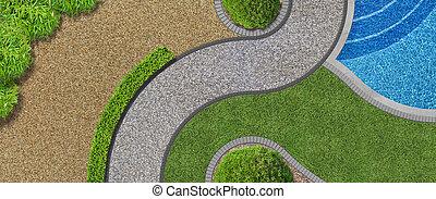 luchtopnames, tuin, moderne, ontwerp, pool, aanzicht