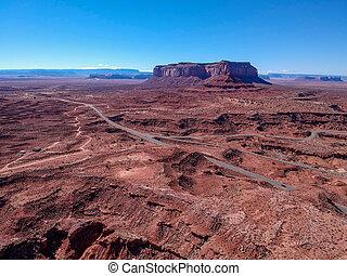 luchtopnames, usa, arizona, monument vallei, aanzicht