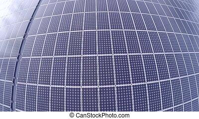 luchtopnames, van, een, zonnepaneel