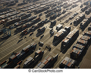 luchtopnames, van, lading, containers.