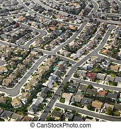 luchtopnames, van, suburbia.