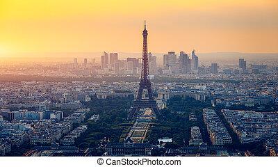 luchtopnames, zakelijk, la, parijs, eiffel, parijs, district., panoramisch, skyline, verdediging, toren, aanzicht, defense., france., sunset.