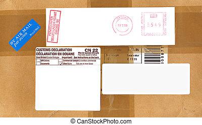 luchtpost, porto, en, douane, etiketten, op, een, verpakken