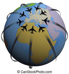 luchtroute, reizen, destination:, europa