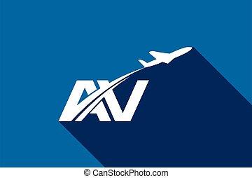 luchtvaart, luchtroute, reizen, template., vliegtuig, logo, v, ontwerp, lucht, aanvankelijk, brief
