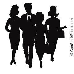 luchtvaart, silhouette, team