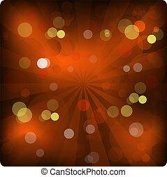 luci, ardendo, anno, arancia, nuovo, bandiera