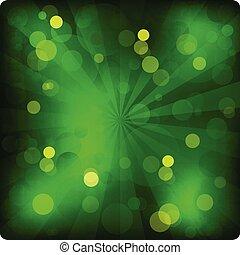 luci, ardendo, verde, anno, nuovo, bandiera