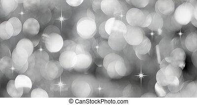 luci, argento, fondo, natale