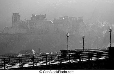 luci, castello, heidelberg, mattina