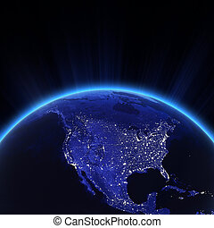 luci, città, stati uniti, notte