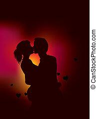 luci, coppia, silhouette, cuore